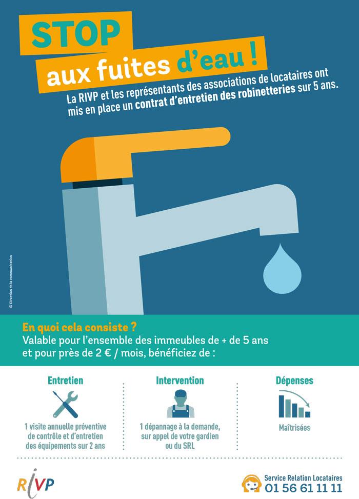 Affiche Stop aux fuites d'eau