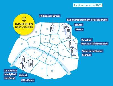 Carte des sites RIVP du budget participatif